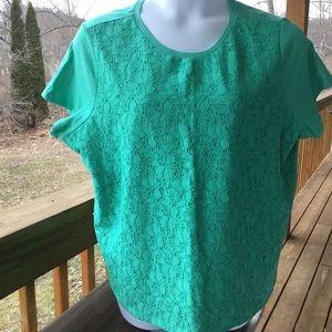 TALBOTS 3XP Lace Front Tee Shirt-Jade Green-NWT